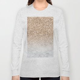 Sparkle - Gold Glitter and Marble Long Sleeve T-shirt