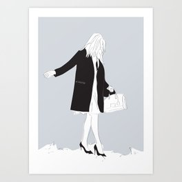Winter Fashion Girl in the Snow Art Print