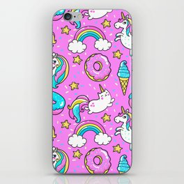 Kawaii Sweet Pink Glittery unicorn pattern iPhone Skin