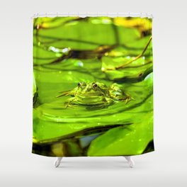 Frog On A Lily Shower Curtain