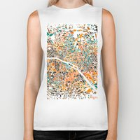 paris map Biker Tanks featuring Paris mosaic map #3 by Map Map Maps
