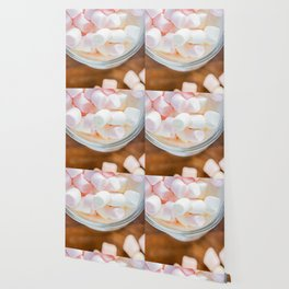 Top view to the  marshmallows in hot chocolate Wallpaper