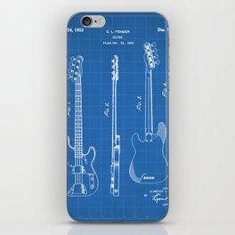 Bass Guitar Patent - Bass Guitarist Art - Blueprint iPhone Skin