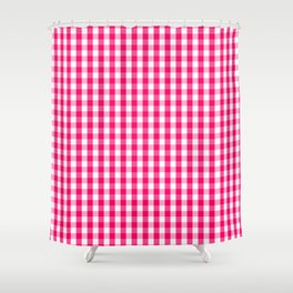 Hot Neon Pink and White Gingham Check Shower Curtain