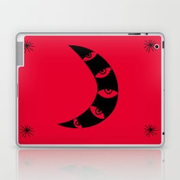 Black Crescent Moon on Red Laptop & iPad Skin