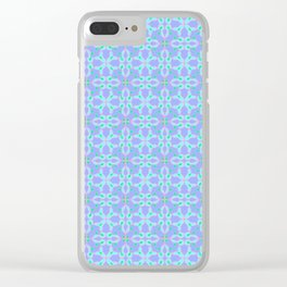 Blue Petals Tiled Pattern Clear iPhone Case