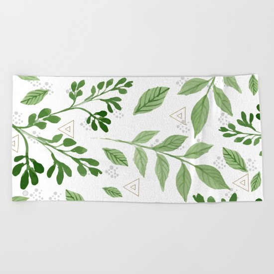 Plants with triangles Beach Towel