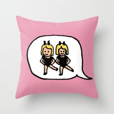 Hand-drawn Emoji - Two Women Dancing Throw Pillow