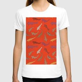 Koi carp. Brown orange yellow black outline on red background T-shirt