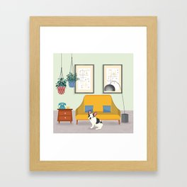 Hanging Plants And A French Bulldog In A Midcentury Interior Framed Art Print