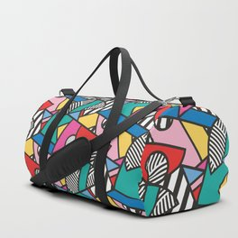 Colorful Memphis Modern Geometric Shapes - Tribal Kente African Aztec Duffle Bag