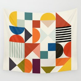 mid century retro shapes geometric Wall Tapestry