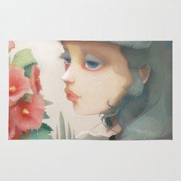 Pensees et roses tremieres Rug