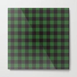 Buffalo Plaid Rustic Lumberjack Green And Black Check Pattern Metal Print
