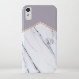 Smokey lilac - rose gold geometric marble iPhone Case