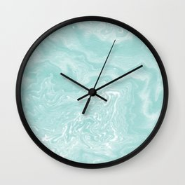 Moki - pastel mint spilled ink japanese watercolor paper marbling marble trendy abstract painting  Wall Clock