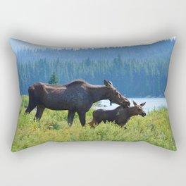 Mother moose & calf at Maligne Lake in Jasper National Park Rectangular Pillow