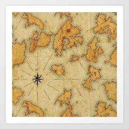 Treasure Island Old Map Art Print