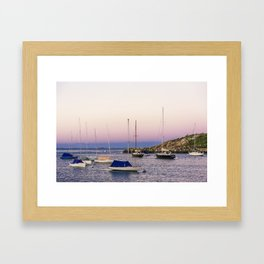 Earth's shadow over the harbor Framed Art Print