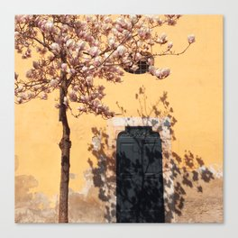 blooming tree on yellow wall background Canvas Print