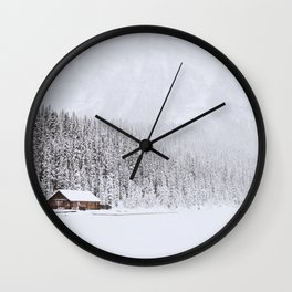 blinded by the white // lake louise Wall Clock