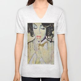 Colourful dripping ink portrait Unisex V-Neck