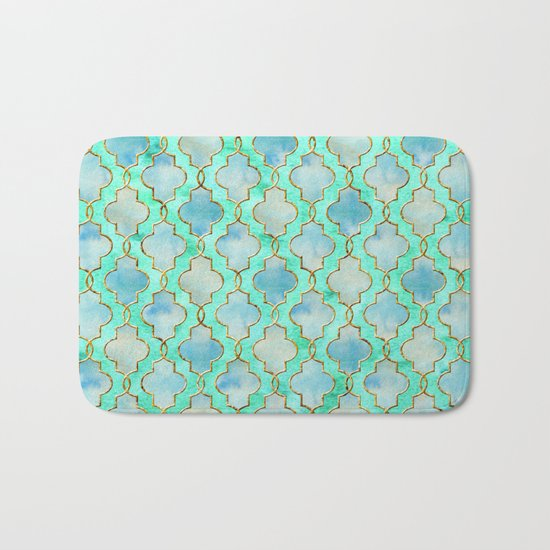Luxury Aqua Teal Mint and Gold oriental quatrefoil pattern Bath Mat