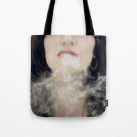 Tote Bags featuring Inhale by josemanuelerre