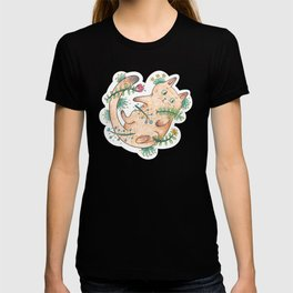 Cute Cat Rolling on its Back Surrounded by Floral Elements T-shirt
