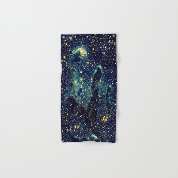 Pillars of Creation GalaxY  Teal Blue & Gold Hand & Bath Towel