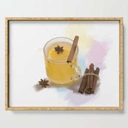 Digital Painting of Hot Apple Cider With Spices Serving Tray