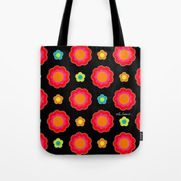 Colorful Flowers on Black Tote Bag