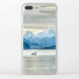 Norway Coastline Mountains Clear iPhone Case