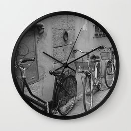 Bicycles in Lucca Wall Clock