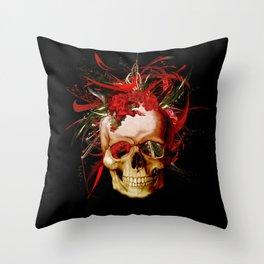 Skull Christmas Mismatch black by mjvision Mia Niemi Throw Pillow