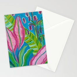 Pink Leaf Stationery Cards