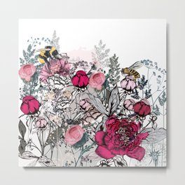 Beautiful vector illustration with peony flowers, herbs, plants and bees in vintage style Metal Print
