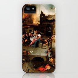 "Hieronymus Bosch ""Temptation of Saint Anthony"" (Antiga) 1 central panel iPhone Case"