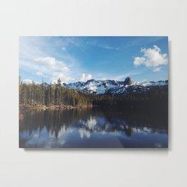 Snowy Peak and Lake Metal Print