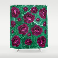 malachite Shower Curtains featuring Purple Roses Scattered on Green Malachite Abstract by SharlesArt