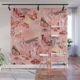 Dragonflies, Butterflies and Moths With Plants on Flamingo Pink Wall Mural