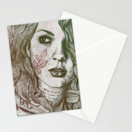 Wake: Autumn (street art woman with maple leaves tattoo) Stationery Cards
