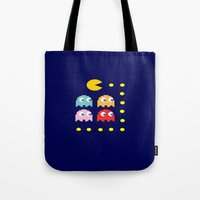 pacman Tote Bags featuring Pacman by ARIS8