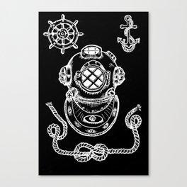 Deep Sea Diver Helmet Illustration Invert Canvas Print