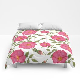 Flowers of pink cinnamon rose Comforters