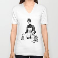 cooking V-neck T-shirts featuring Cooking by MICKEY FICKEY GALLERY