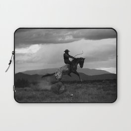 Black and White Cowboy Being Bucked Off Laptop Sleeve