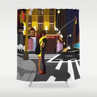 broadway Shower Curtains featuring BROADWAY KISS by Alfred Fox Art & Photography