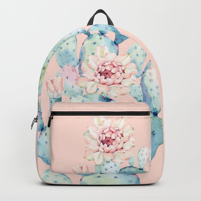 Rose Desert Cactus on Pink by Nature Magick Backpack