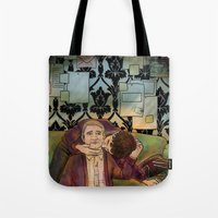 johnlock Tote Bags featuring Married to The Work by Stitchy